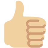 Thumbs Up: Medium-Light Skin Tone on Twitter Twemoji 2.4