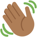 Waving Hand: Medium-Dark Skin Tone on Twitter Twemoji 2.4