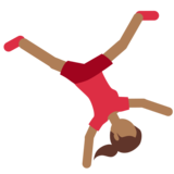 Woman Cartwheeling: Medium-Dark Skin Tone on Twitter Twemoji 2.4