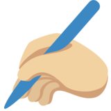 Writing Hand: Medium-Light Skin Tone on Twitter Twemoji 2.4