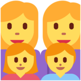 Family: Woman, Woman, Girl, Boy on Twitter Twemoji 2.5