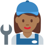 Woman Mechanic: Medium-Dark Skin Tone on Twitter Twemoji 2.5