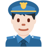 Man Police Officer: Light Skin Tone on Twitter Twemoji 2.5