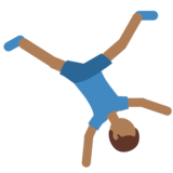 Man Cartwheeling: Medium-Dark Skin Tone on Twitter Twemoji 2.5