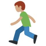 Person Running: Medium Skin Tone on Twitter Twemoji 2.5