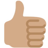 Thumbs Up: Medium Skin Tone on Twitter Twemoji 2.5