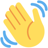 Waving Hand on Twitter Twemoji 2.5