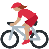 Woman Biking: Medium Skin Tone on Twitter Twemoji 2.5