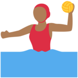 Woman Playing Water Polo: Medium-Dark Skin Tone on Twitter Twemoji 2.5