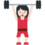 Woman Lifting Weights: Light Skin Tone on Twitter Twemoji 2.5