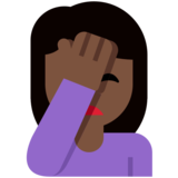 Person Facepalming: Dark Skin Tone on Twitter Twemoji 2.6