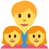 Family: Man, Girl, Girl on Twitter Twemoji 2.6