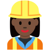 Woman Construction Worker: Dark Skin Tone on Twitter Twemoji 2.6