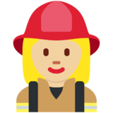 Woman Firefighter: Medium-Light Skin Tone on Twitter Twemoji 2.6