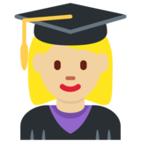Woman Student: Medium-Light Skin Tone on Twitter Twemoji 2.6