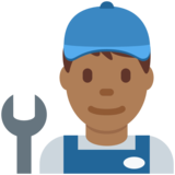 Man Mechanic: Medium-Dark Skin Tone on Twitter Twemoji 2.6