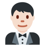 Man in Tuxedo: Light Skin Tone on Twitter Twemoji 2.6