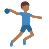 Man Playing Handball: Medium-Dark Skin Tone on Twitter Twemoji 2.6