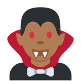 Man Vampire: Medium-Dark Skin Tone on Twitter Twemoji 2.6