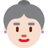 Old Woman: Light Skin Tone on Twitter Twemoji 2.6