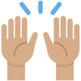Raising Hands: Medium Skin Tone on Twitter Twemoji 2.6