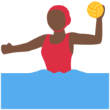 Woman Playing Water Polo: Dark Skin Tone on Twitter Twemoji 2.6