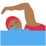 Woman Swimming: Medium-Dark Skin Tone on Twitter Twemoji 2.6