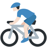 Person Biking: Light Skin Tone on Twitter Twemoji 2.7