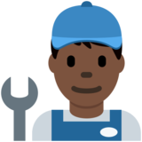 Man Mechanic: Dark Skin Tone on Twitter Twemoji 2.7