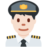 Man Pilot: Light Skin Tone on Twitter Twemoji 2.7