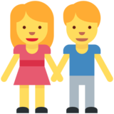Woman and Man Holding Hands on Twitter Twemoji 2.7