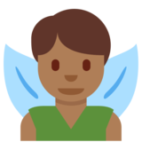 Man Fairy: Medium-Dark Skin Tone on Twitter Twemoji 2.7