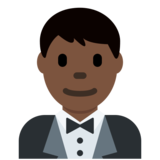 Person in Tuxedo: Dark Skin Tone on Twitter Twemoji 2.7