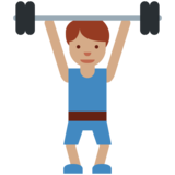 Man Lifting Weights: Medium Skin Tone on Twitter Twemoji 2.7