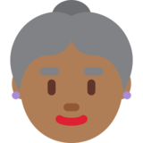 Old Woman: Medium-Dark Skin Tone on Twitter Twemoji 2.7