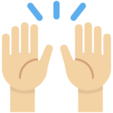 Raising Hands: Medium-Light Skin Tone on Twitter Twemoji 2.7