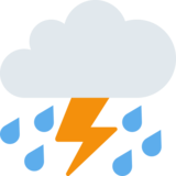 Cloud With Lightning and Rain on Twitter Twemoji 2.7