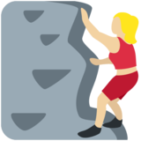 Woman Climbing: Medium-Light Skin Tone on Twitter Twemoji 2.7