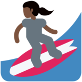 Woman Surfing: Dark Skin Tone on Twitter Twemoji 2.7