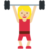 Woman Lifting Weights: Medium-Light Skin Tone on Twitter Twemoji 2.7