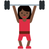 Woman Lifting Weights: Dark Skin Tone on Twitter Twemoji 2.7