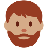 Man: Medium Skin Tone, Beard on Twitter Twemoji 11.0