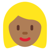 Woman: Medium-Dark Skin Tone, Blond Hair on Twitter Twemoji 11.0