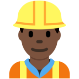 Construction Worker: Dark Skin Tone on Twitter Twemoji 11.0
