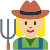 Woman Farmer: Medium-Light Skin Tone on Twitter Twemoji 11.0