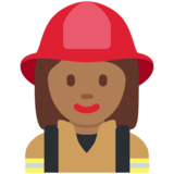 Woman Firefighter: Medium-Dark Skin Tone on Twitter Twemoji 11.0