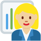 Woman Office Worker: Medium-Light Skin Tone on Twitter Twemoji 11.0