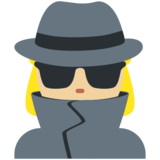 Woman Detective: Medium-Light Skin Tone on Twitter Twemoji 11.0