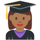 Woman Student: Medium-Dark Skin Tone on Twitter Twemoji 11.0
