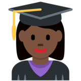 Woman Student: Dark Skin Tone on Twitter Twemoji 11.0